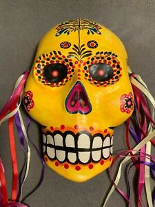 Mexican Day of the Dead Plaster Mask Hand Crafted/Painted Artist Daniel Lechon