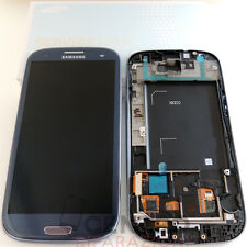 SAMSUNG GALAXY S3 i9300 ORIGINALE TOUCH SCREEN DISPLAY LCD FRAME BLU PEBBLE BLUE