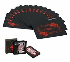 Waterproof Playing Cards with Unique Pattern & Flower Backing - Cool Black