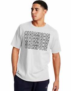 Champion Men's Athletics Classic Jersey Tee Short Sleeve Repeating Block Logo
