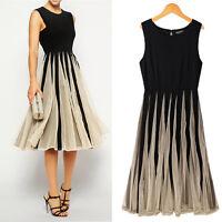 Frauen Damen Chiffon Maxikleid Kleid Partykleid spleiß·Cocktailkleid Dress lang