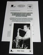 STAN GETZ 'REISSUES' 2003 PRESS KIT—PHOTO