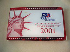 2001 U.S. MINT SILVER PROOF SET WITH BOX AND COA FROM ORIGINAL OWNER!