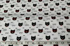 Michael Miller cats kittens sewing craft white cotton sold by the half metre