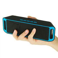 Wireless Bluetooth Speaker USB Flash FM Radio Stereo Super Bass MP3 Player Blue