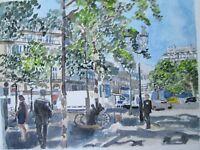 "PARIS, RIGHT BANK / ORIGINAL WATERCOLOR / 9"" X 12"" / MIMI DAVIS, ARTIST"