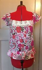 MONSOON FUSION top floral pink orange brown lace detail Boho peasant UK 12 VGC+