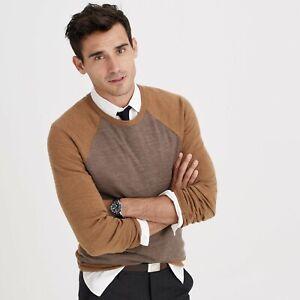New J.Crew super soft merino wool color blocked brown sweater men's size S $100