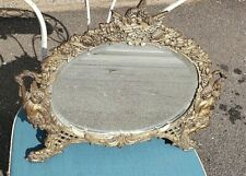 Antique Cherubs Dresser Table Mirror~ Easel Back~White Metal~ 1890's Free Ship!