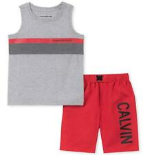 Calvin Klein Boys Gray Tank Top 2pc Short Set Size 2T 3T 4T 4 5 6 7