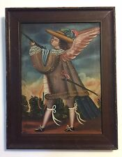 Important 17th - 18th C Old Peruvian Oil Painting of Angel w/ Gun