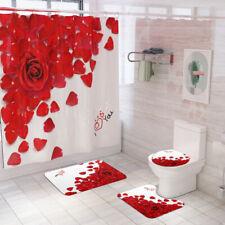 Rose Bathroom Rug Set Shower Curtain Bath Mat Non-Slip Toilet Seat Lid Cover