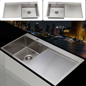 Square Large Bowl Kitchen Sink Stainless steel LH / RH Drainer Handmade Sink UK
