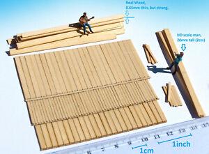 100+ Miniature wood planks lumber HO O scale for model railway dollhouse diorama