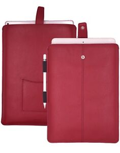 """APPLE iPad Pro 12.9"""" Sleeve RED Faux Leather NueVue Screen Cleaning & SANITIZING"""
