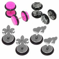8PCS Fake Ear Plugs and Heart Stud Earring Set Cheater Faux Gauges Jewelry