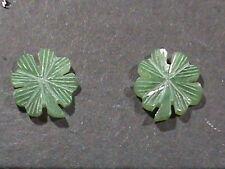 SWEET 14 Kt Gold Earrings Genuine Tai Jade Carved Clovers 12 MM Clover Leaf