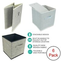 6 x Foldable Fabric Storage Collapsible Box Drawer Clothes Organiser Fabric Cube
