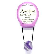 Energía de cristal curativo Púrpura Amatista Pulida Colgante Collar de cordón negro en