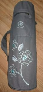 Gaiam Green / Blue Yoga Mat 6 MM with Gray Floral Bag