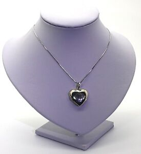 Heart Shaped Locket Engraved Tree Of Life & Necklace 925 Sterling Silver Rhodium
