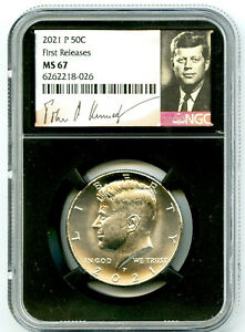 2021 P KENNEDY NGC MS67 HALF DOLLAR RETRO SIGNATURE LABEL FIRST RELEASES