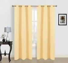 Dainty Home Blended Silk Grommet Window Panel Pair with Cotton 76x84'' Banana...