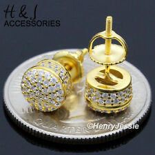 MEN 925 STERLING SILVER 7MM GOLD ICED BLING ROUND SCREW BACK STUD EARRING*GE159