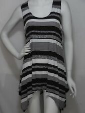 JOSTAR TRAVEL KNIT  LONG TANK  POINTED  SIDE TOP     LRG   BLACK/WHITE