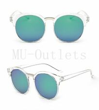 New Clear Frame Sunglasses Round Large HOT Retro Vintage Mirror Lens (5010)Green