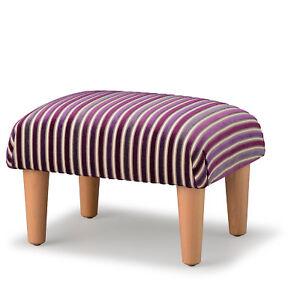 Biagi Upholstery & Design Purple Striped Luxury Chenille Velvet Footstool