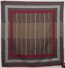 "TERRIART Taupe, Wine, Caramel Box Stripes, Dots 29"" Sq Scarf-Vintage Manzoni"