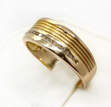 Mens 18k Yellow Gold 0.15 Ct Natural Round Diamond Ring 3.4 Grams Size 9.25