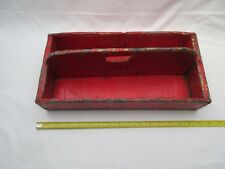 Vintage red over painted old wooden garden trug tool caddy tray open box