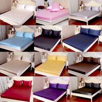3pc 30mm Heavy Weight 100% Mulberry Silk Fitted Bottom Sheets Pillowcase Set