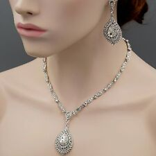 Rhodium Plated Clear Crystal Necklace Pendant Earrings Wedding Jewelry Set 8967