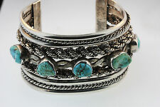 NATIVE AMERICAN NAVAJO RVF MASSIVE STERLING CUFF BRACELET 5-TURQUOISE NUGGETS