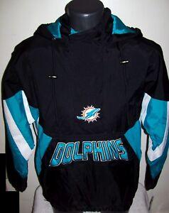 MIAMI DOLPHINS Starter Hooded Half Zip Pullover Jacket  BLACK w AQUA S M L XL 2X