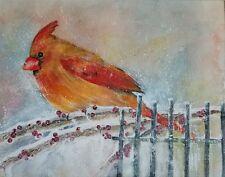 "Painter Suzanne Obrand, Holocaust Survivor, Watercolor ""Cardinal"""