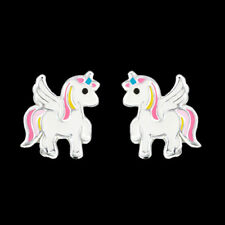 925 Sterling Silver Unicorn Stud Earrings Light Pink White Tail Wing Children