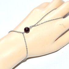 Chaîne de main bracelet bague acier inoxydable Grenat bijou