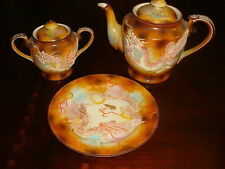 Moriyama Occupied Japan Orange Dragonware teapot, covered sugar and plate[*4mor]