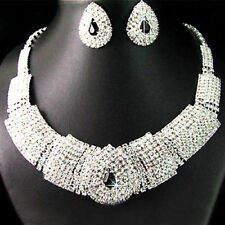 Lady Silver Plated Rhinestone Statement Bib Collar Necklace Earrings Set Solid