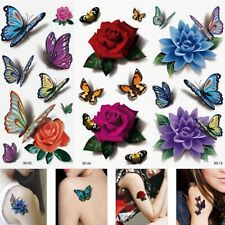 Tattoos Transfer Stickers Rose Butterfly Waterproof Tatto Fake Temporary UK