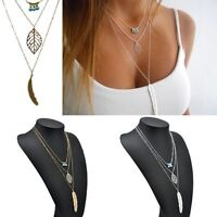 New Leaf Long Pendant Necklaces 3 Layer Chain Necklace Multilayer Necklace