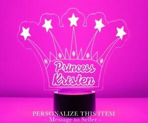 Princess Crown LED Night Light Personalized FREE - Kids LED Night Lamp w/ Remote