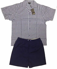 Mens Gents Short Cotton Pyjamas 2 PC Set T-Shirt Shortie Bottoms Blue Grey New