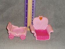 Hasbro My Little Pony Little People Size Pink Stroller & Chair Lot