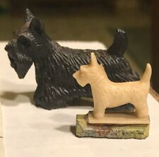 Vintage Terrier Miniatures (2) Scottish Resin And Cairn Great Details