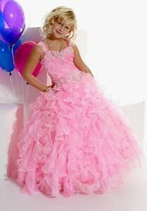 Tiffany Princess Pageant Dress, Pink Ruffles, Size 4, 10 or 16 Slim, 13265